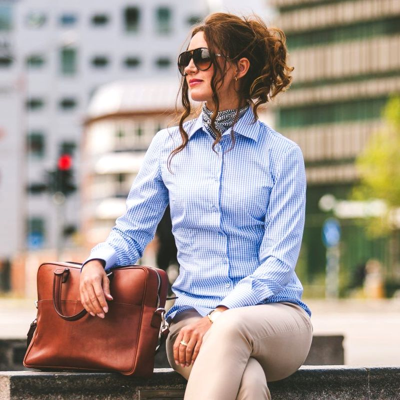 Women's light blue gingham shirt