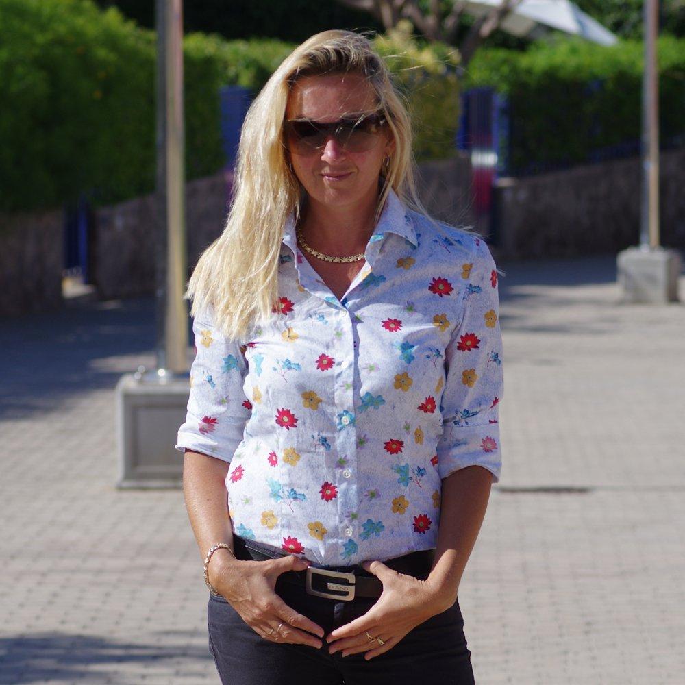 woman wearing floral shirt