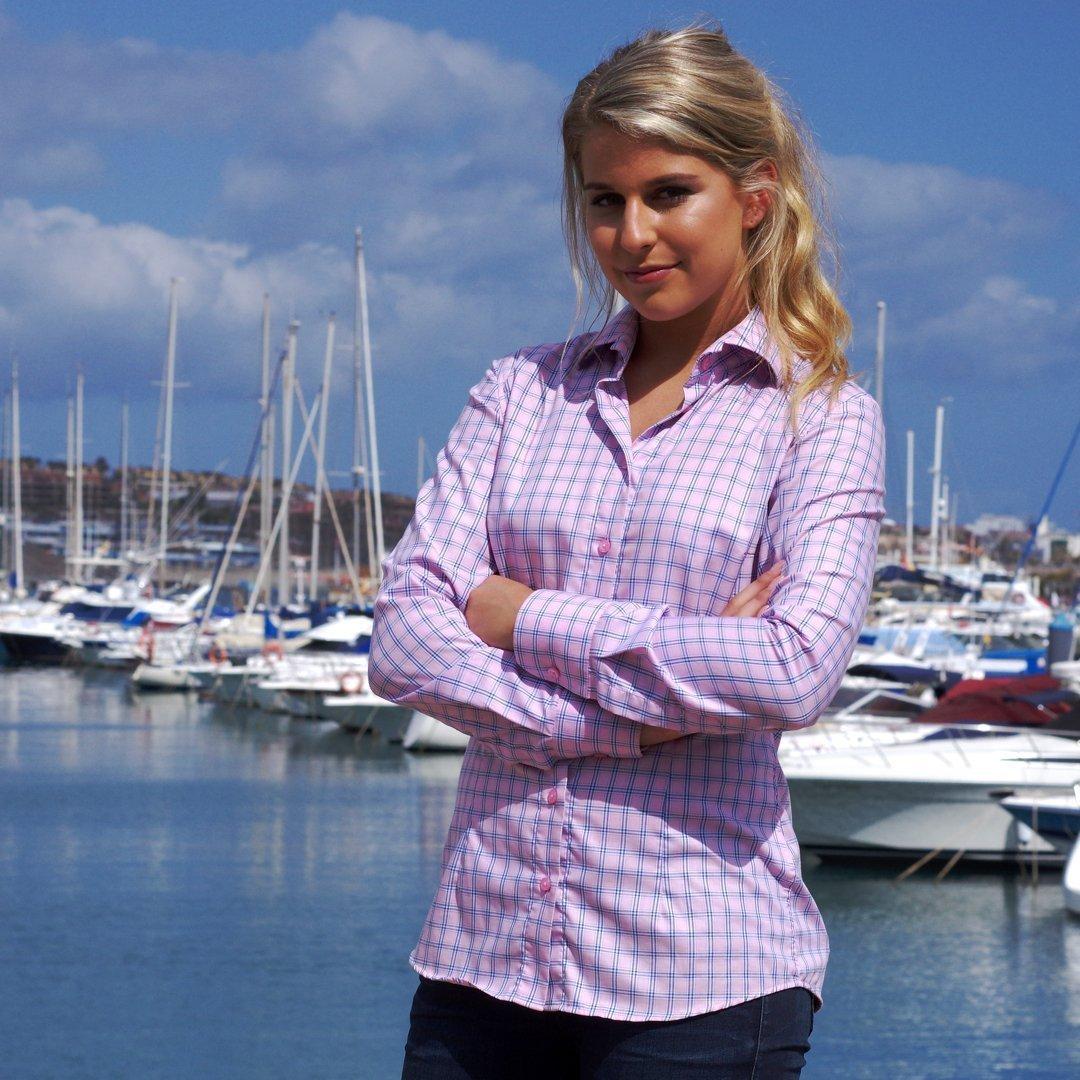 pink checkered women's shirt