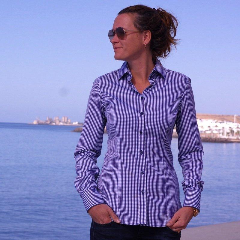 navy blue gingham dress shirt