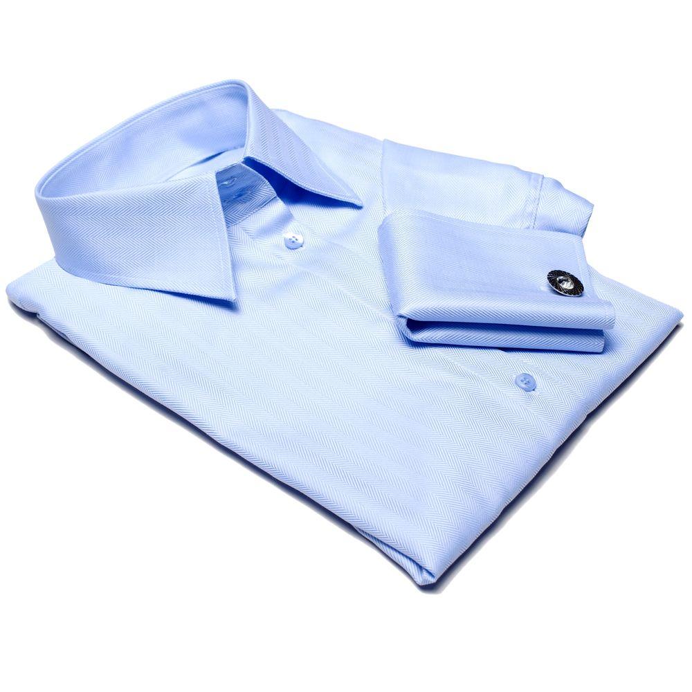 Hellblaue Bluse mit Umschlagmanschetten für Damen