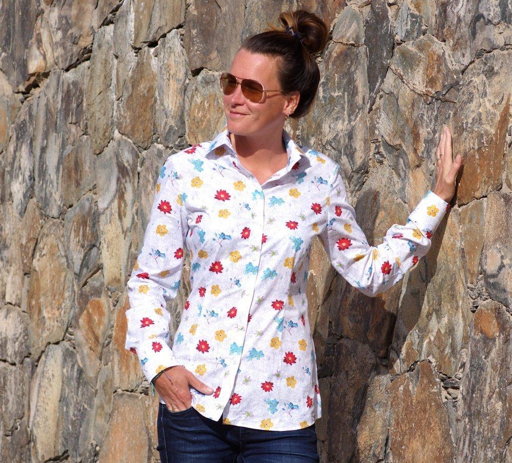 ella hopfeldt flowery women's shirt