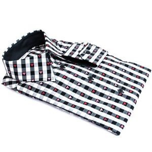 black checkered dress shirt