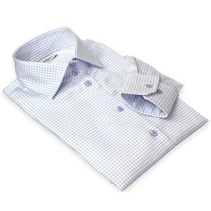 blue checkered women's dress shirt