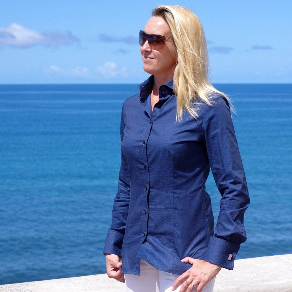 dark blue dress shirt for women