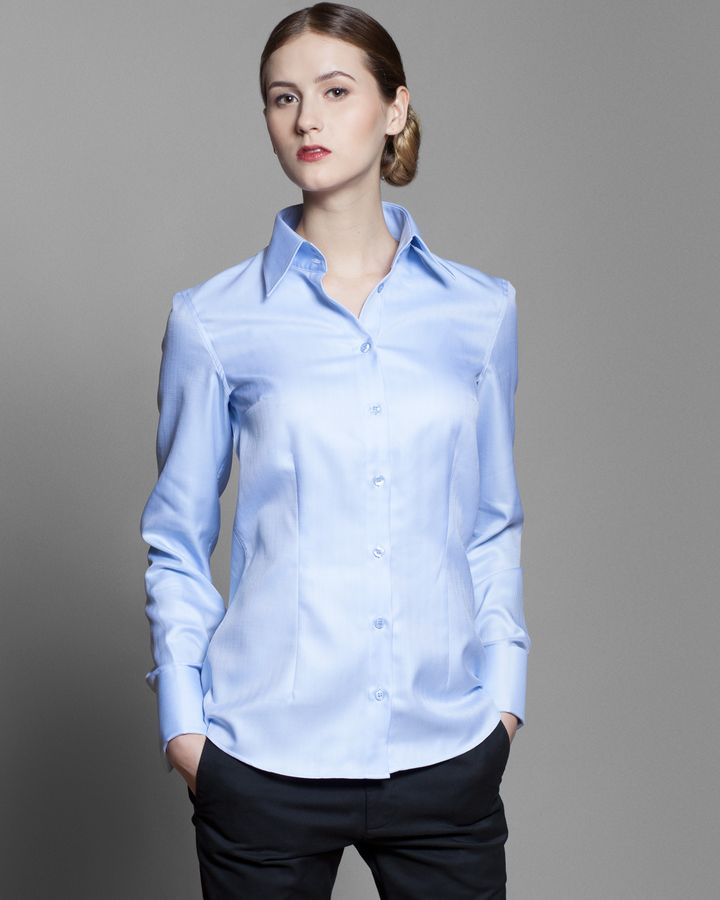 light blue herringbone women's shirt