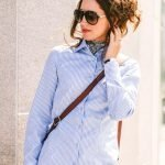 light blue gingham dress shirt for women