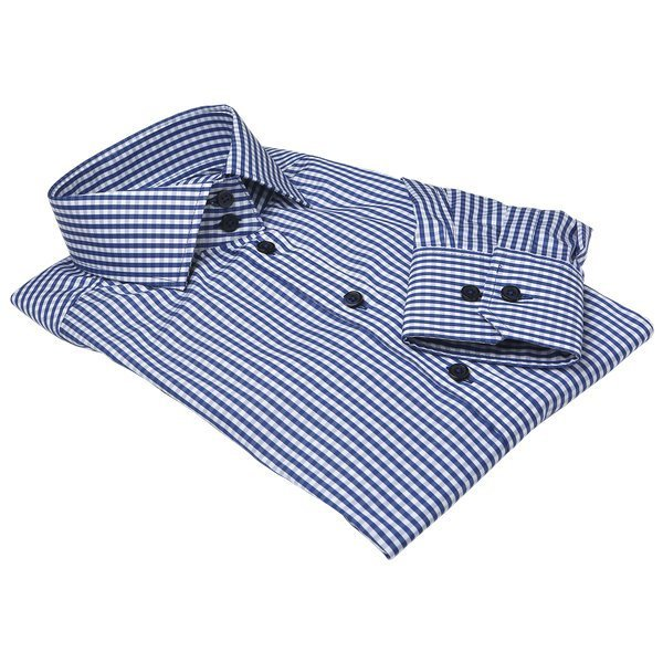 Dunkelblaue Gingham Bluse für Damen
