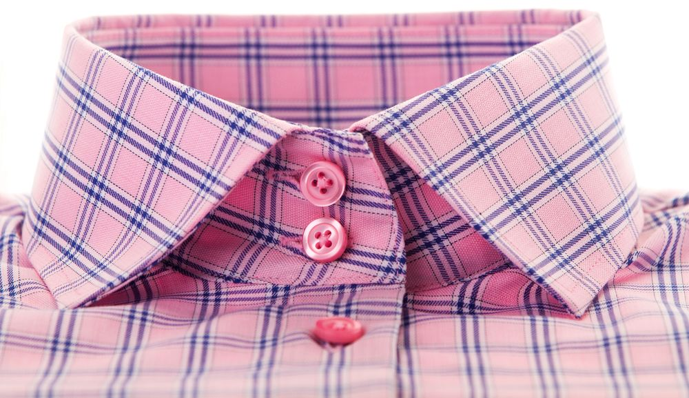 pink check shirt collar