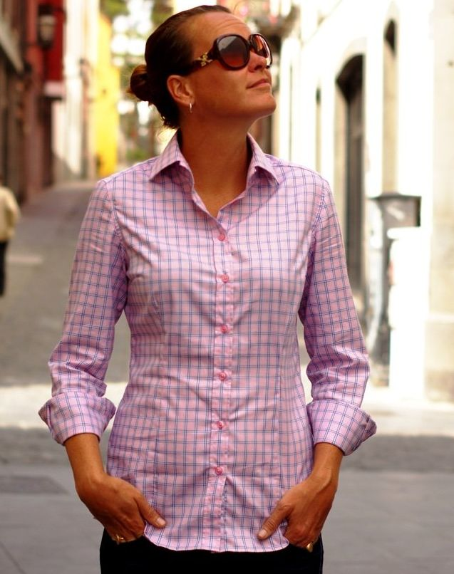 pink plaid dress shirt