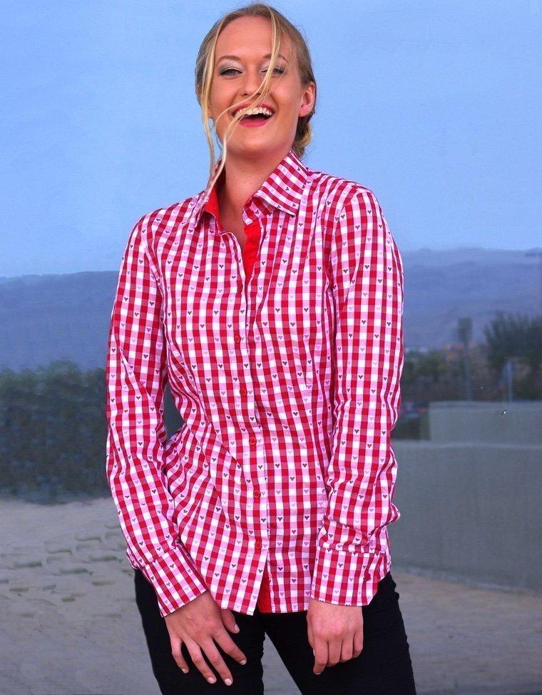 red checkered women's shirt
