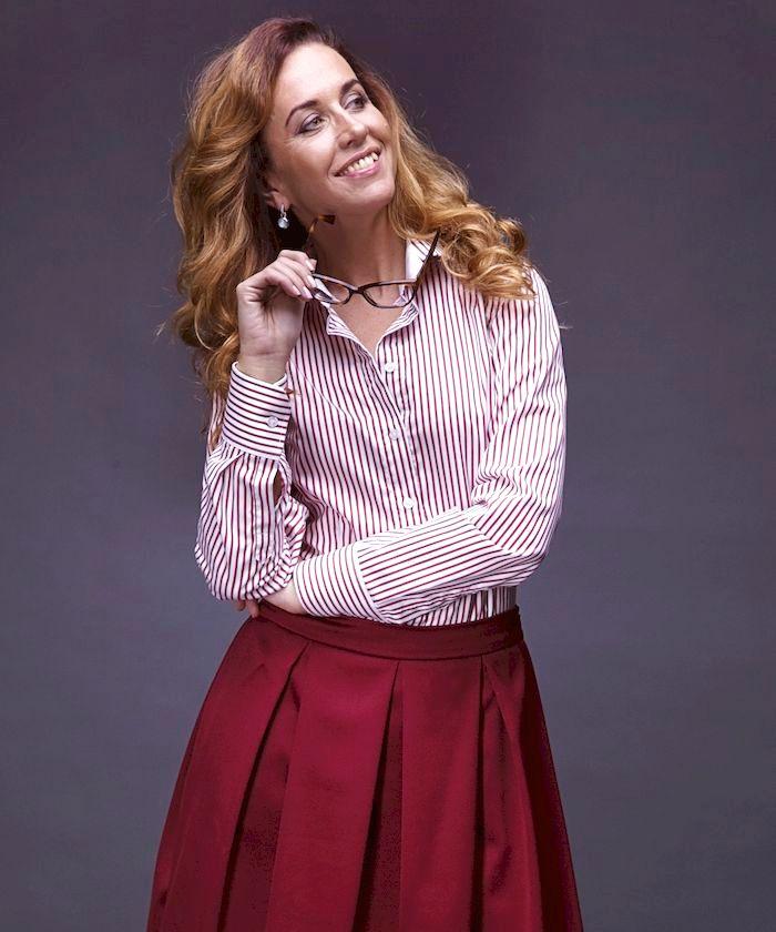 Women's red striped dress shirt