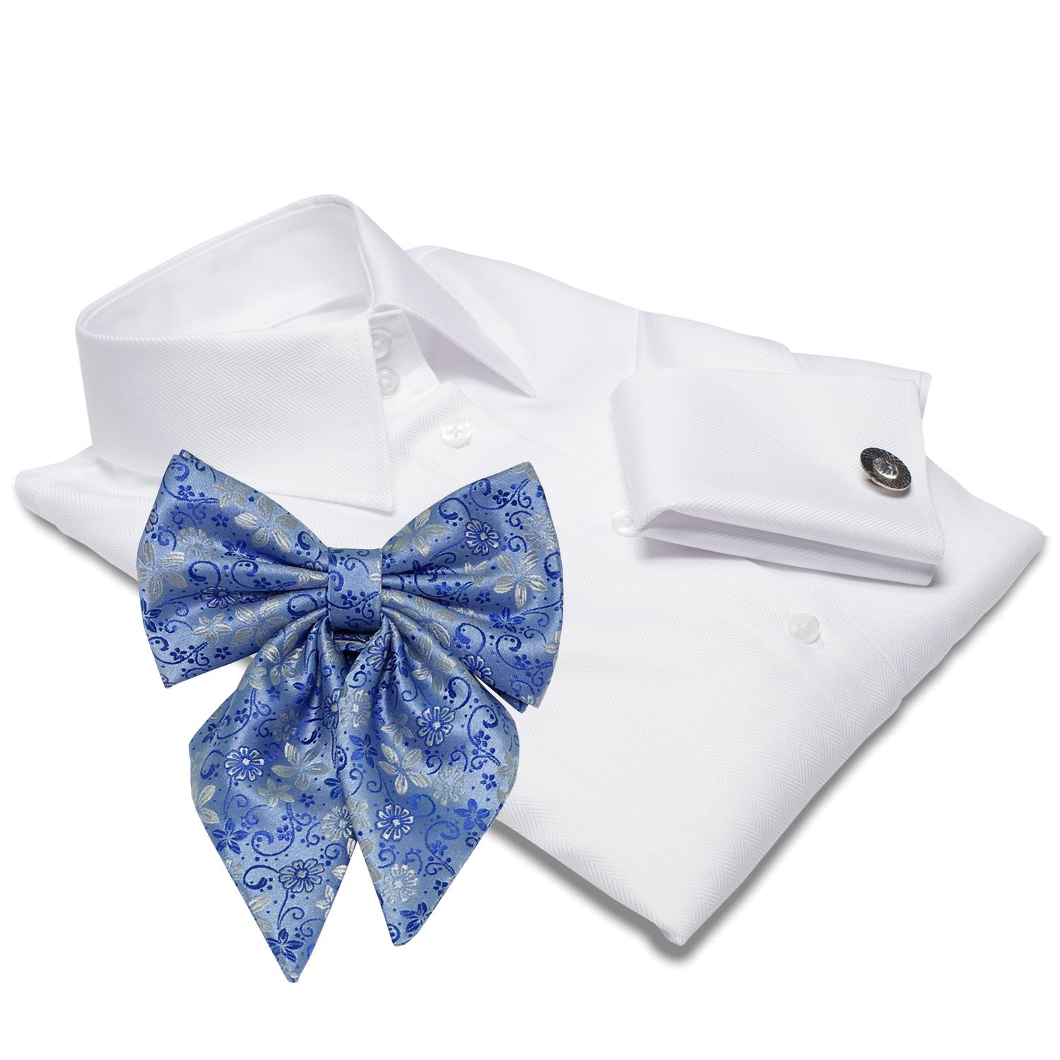 white shirt with flowered bow tie