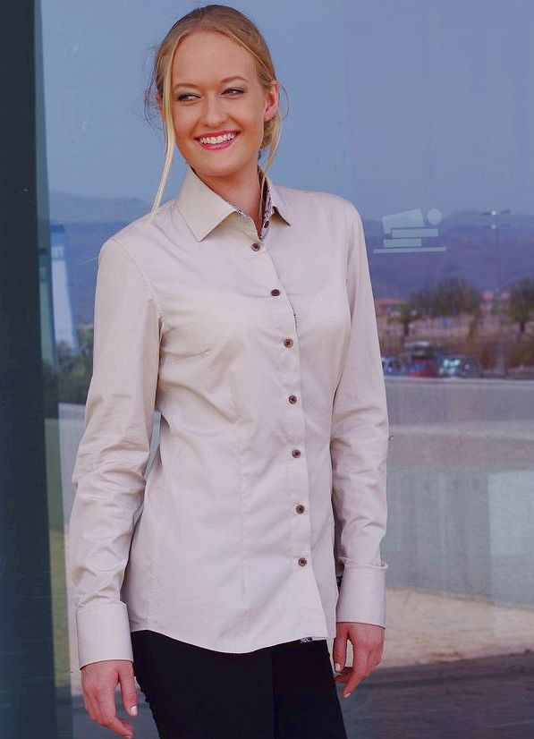 women's beige shirt