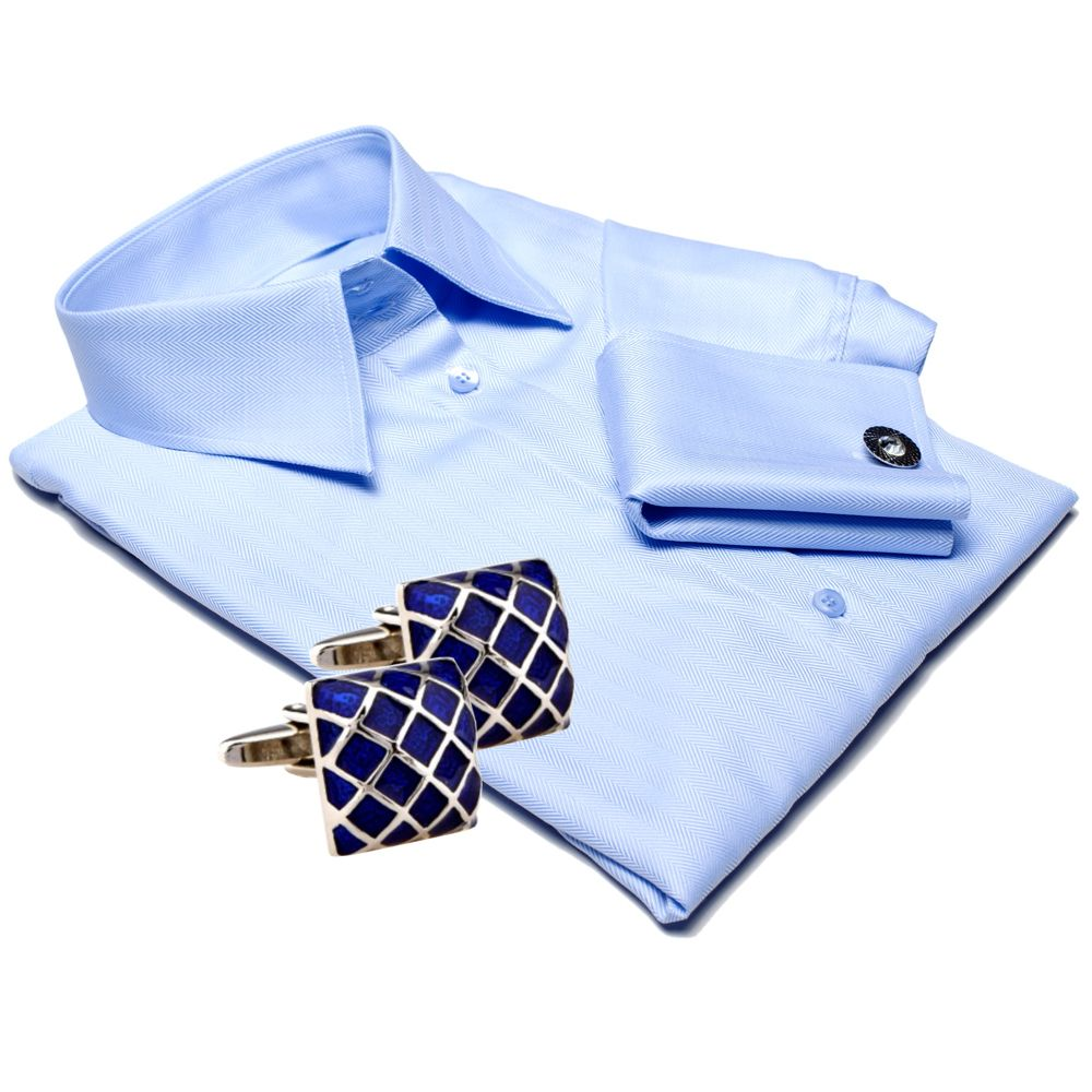 Women's blue shirt with cufflinks