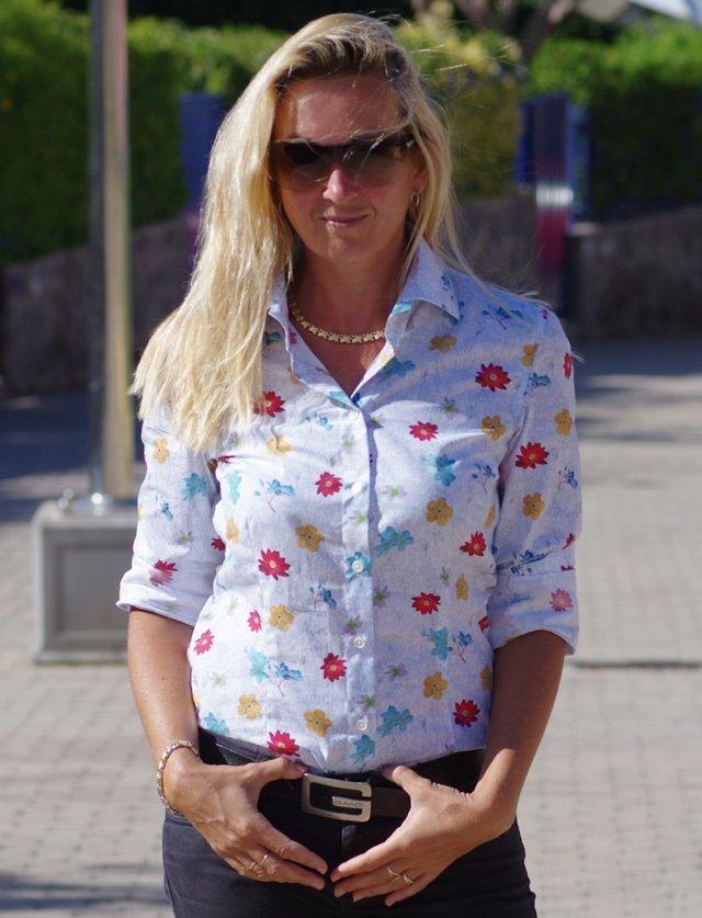 women's dress shirt with flowers