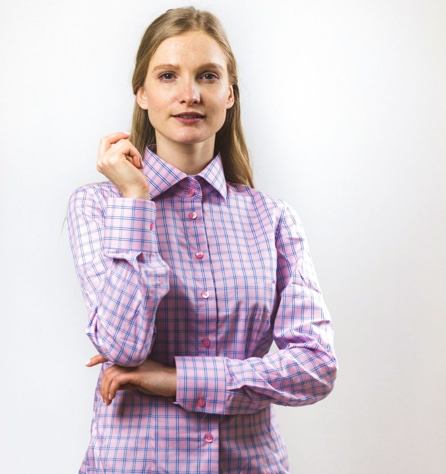women's pink plaid blouse