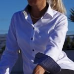 women's white dress shirt with black details