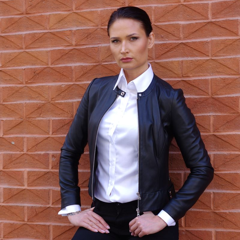 women's white shirt with black jacket