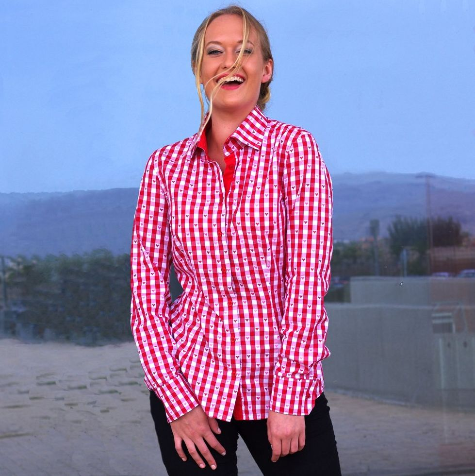 women's red checkered shirt