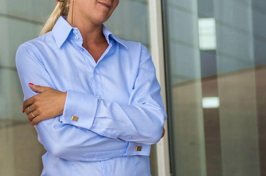 light blue women's french cuffs shirt