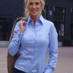 Women's blue blouse with cufflinks