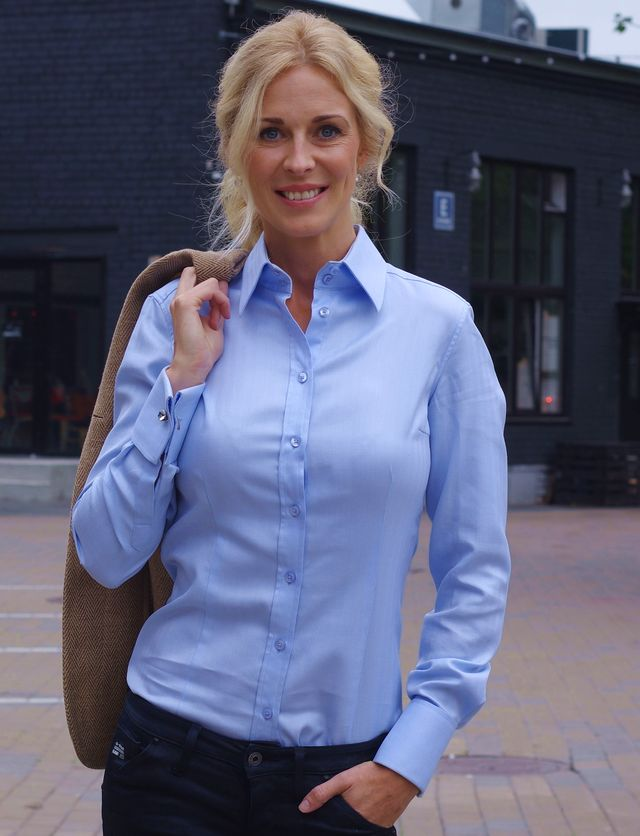 Women's blue blouse with cufflinks