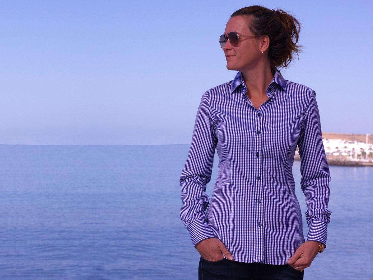 ella hopfeldt navy gingham shirt