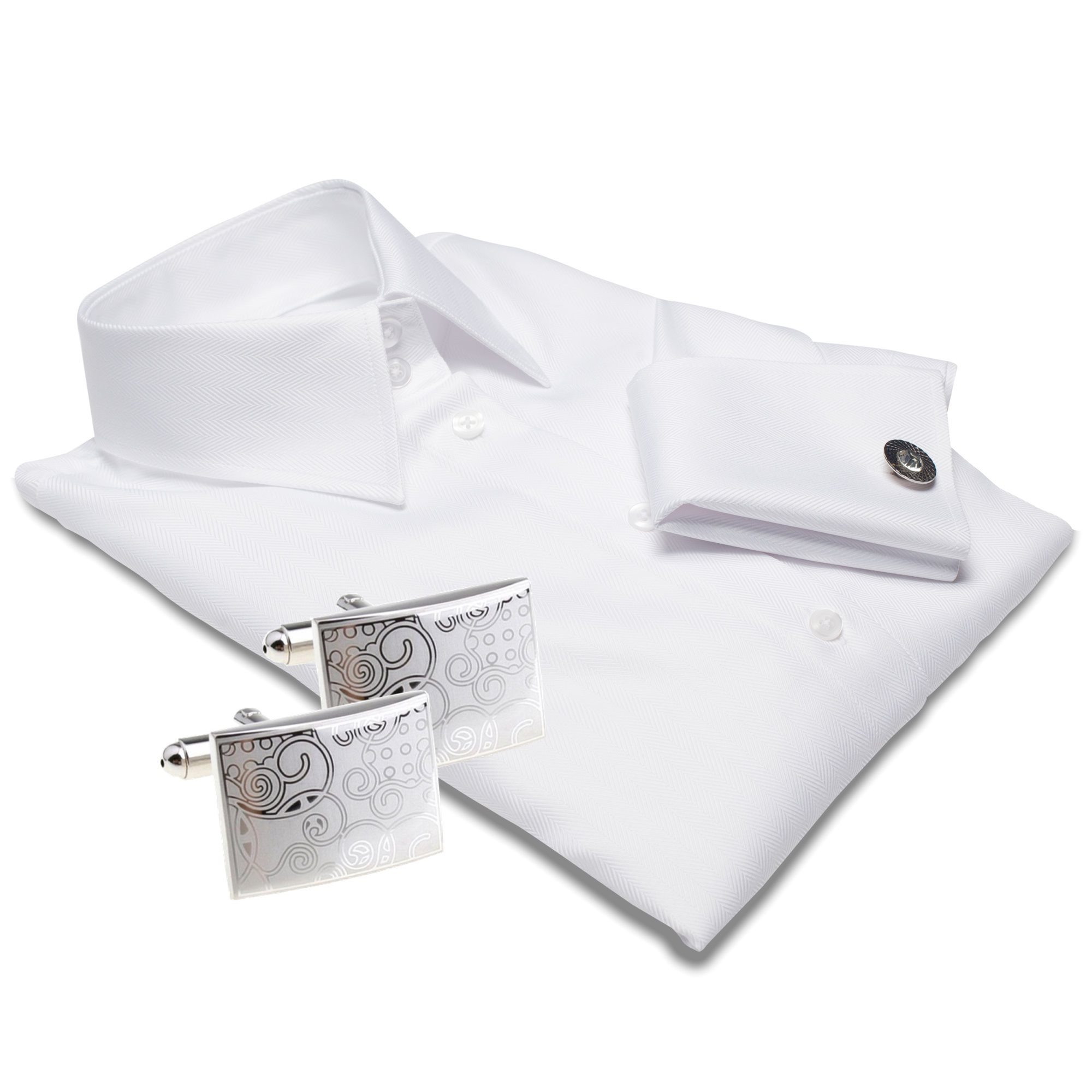 MADRID white dress shirt + CUFFLINKS