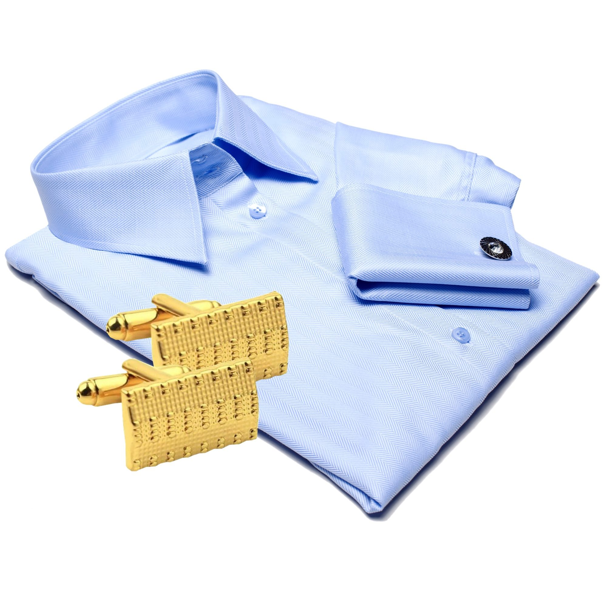 PARIS light blue dress shirt + CUFFLINKS