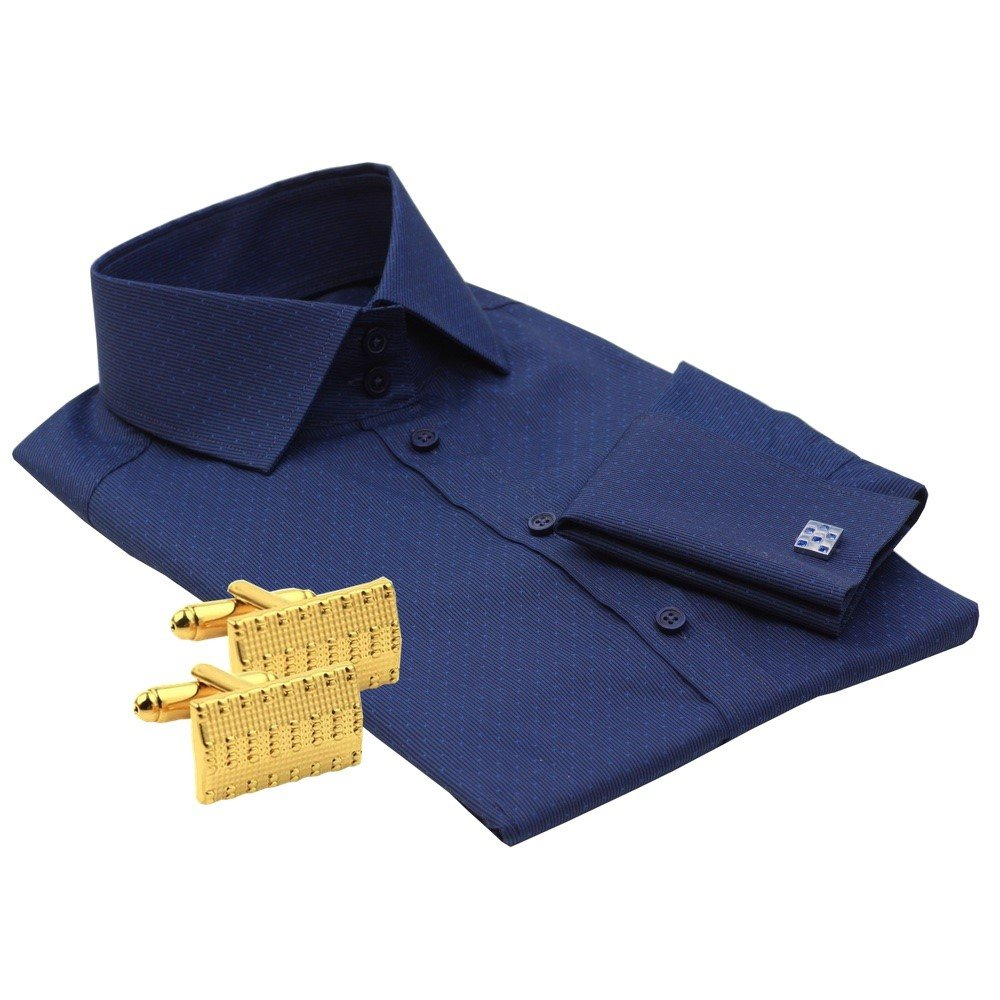 BARCELONA dark blue dress shirt + CUFFLINKS
