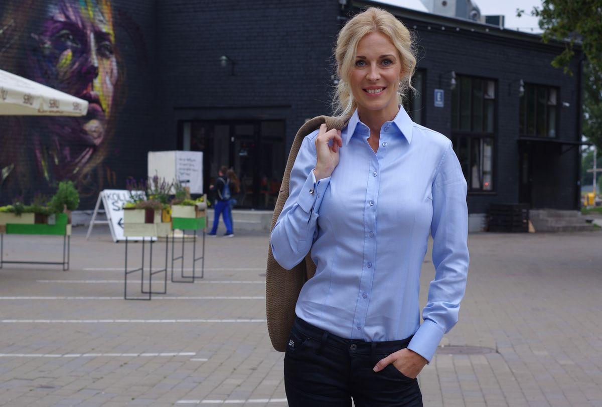 Light blue women's french cuff shirt