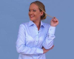 BONN blue checkered dress shirt (last sizes: 32, 44)
