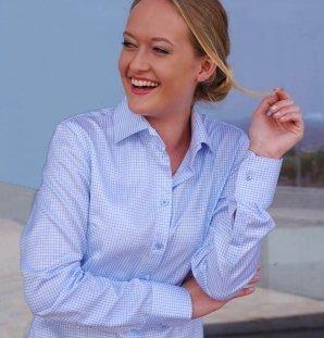MAILAND blau karierte Bluse (letzte Größen: 40, 42)