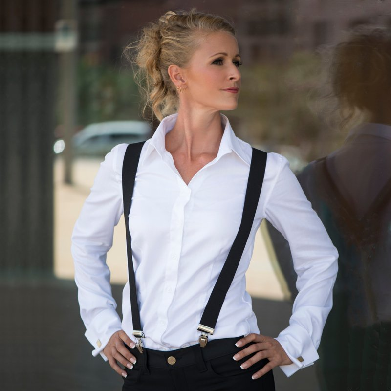 woman wearing white French cuff shirt