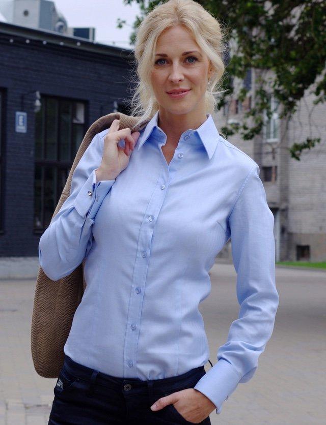 Light blue french cuff womens shirt