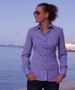 BONN navy blue gingham dress shirt
