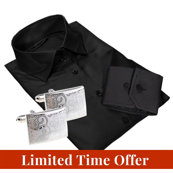 BONN black shirt + CUFFLINKS