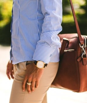 MILAN light blue gingham dress shirt