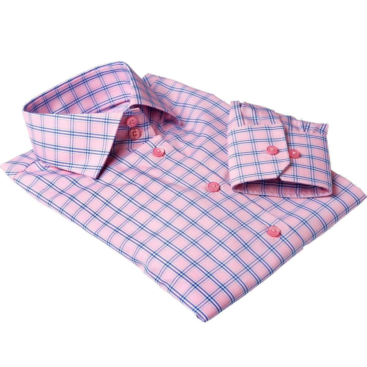 MILAN pink plaid dress shirt