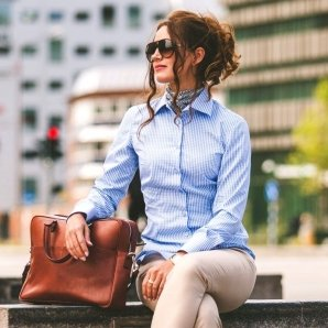BONN light blue gingham dress shirt