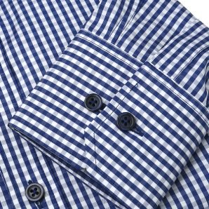 MILAN navy blue gingham dress shirt