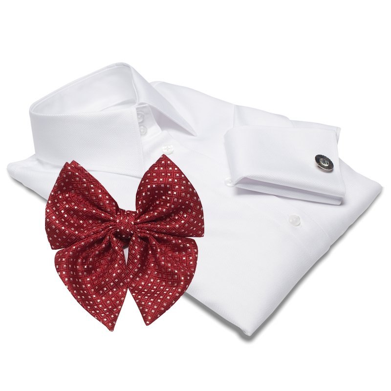 MUNICH white dress shirt + red BOW TIE + CUFFLINKS