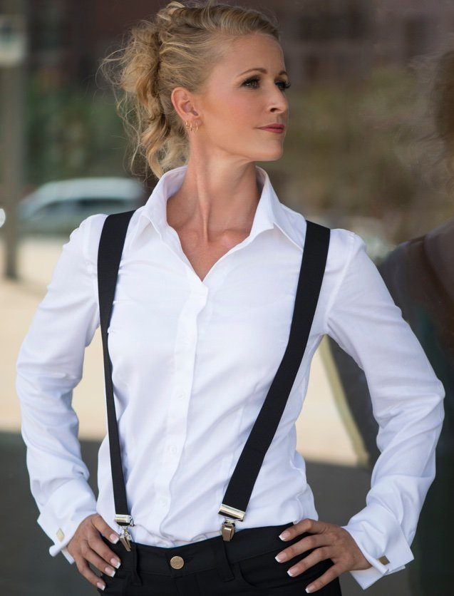 white women's french cuff shirt
